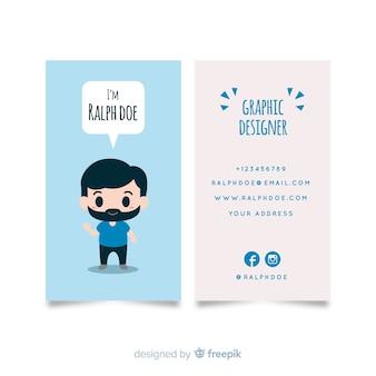 Hand getrokken kawaii karakter visitekaartjesjabloon