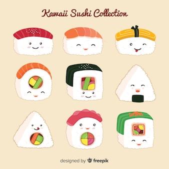 Hand getrokken kawaii lachende sushi-collectie