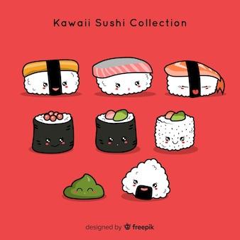 Hand getrokken kawaii sushi-collectie