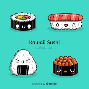 Hand getrokken kawaii sushi pack