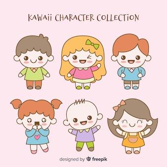 Hand getrokken kawaii tekens collectie