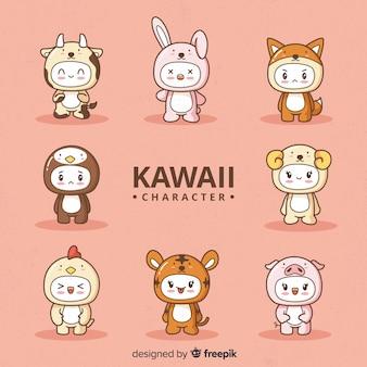 Hand getrokken kawaii vermomde tekensverzameling
