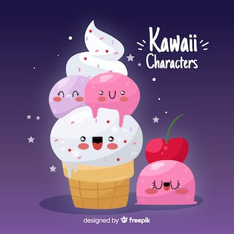 Hand getrokken kawaii voedsel achtergrond