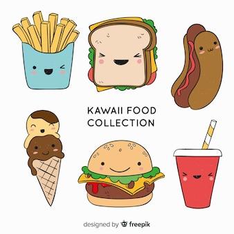 Hand getrokken kawaii voedselverzameling