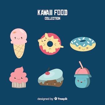 Hand getrokken kawaii zoet voedsel collectie