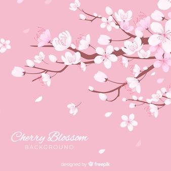 Hand getrokken kersenbloesem achtergrond