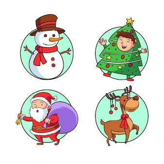 Hand getrokken kerst badge set