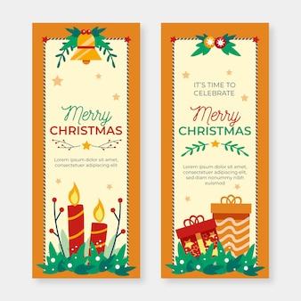 Hand getrokken kerst banners sjabloon