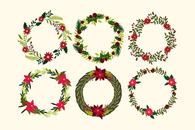 Hand getrokken kerst bloem & krans collectie