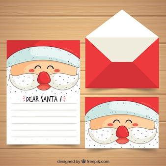 Hand getrokken kerst briefsjabloon met gezicht van santa