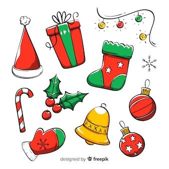 Hand getrokken kerst element collectie