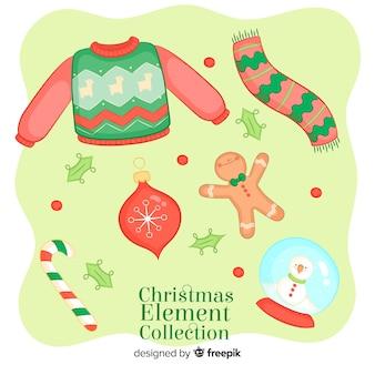 Hand getrokken kerst elementen collectie