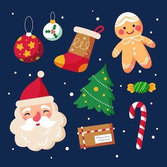 Hand getrokken kerst elementen instellen