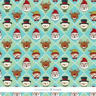 Hand getrokken kerst elementen patroon