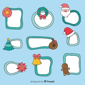 Hand getrokken kerst-frames pack