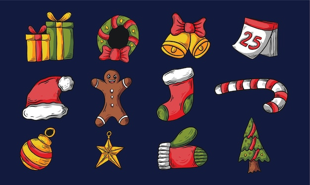 Hand getrokken kerst icon set