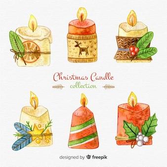 Hand getrokken kerst kaarsen collectie