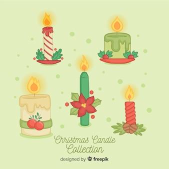 Hand getrokken kerst kaarsen pack