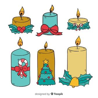 Hand getrokken kerst kaarsen