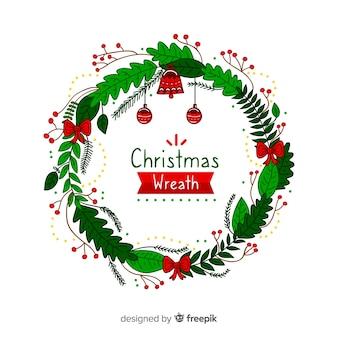Hand getrokken kerst krans achtergrond