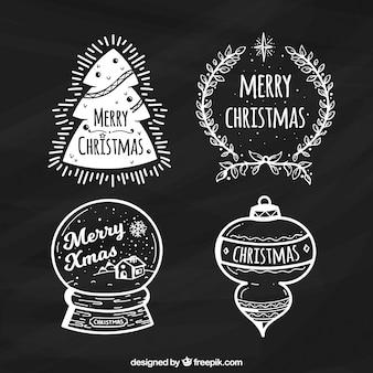 Hand getrokken kerst labels in schoolbord effect
