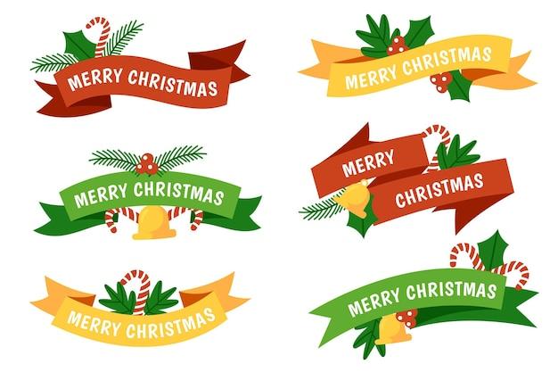 Hand getrokken kerst lint set