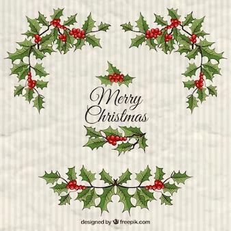 Hand getrokken kerst maretak achtergrond