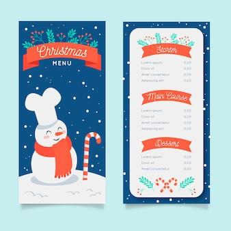 Hand getrokken kerst menusjabloon