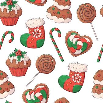 Hand getrokken kerst naadloze patroon vector.