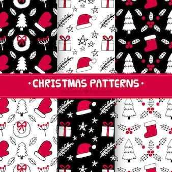 Hand getrokken kerst patronen in rood en zwart