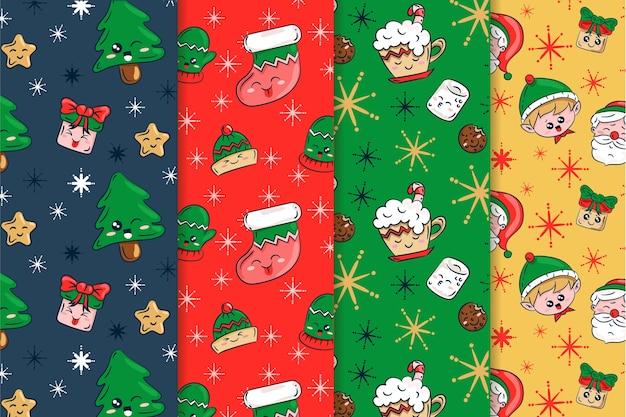 Hand getrokken kerst patroon collectie