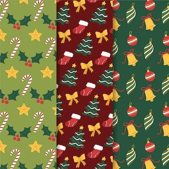 Hand getrokken kerst patroon set