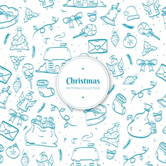 Hand getrokken kerst patroon
