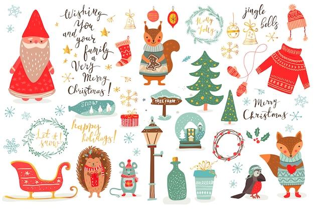 Hand getrokken kerst set in cartoon stijl. grappige kaart met schattige dieren en andere elementen: vos, muis, eekhoorn, hetchogvogel, kerstman, kerstboom, belettering. illustratie