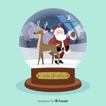 Hand getrokken kerst sneeuwbal kerstmis zwaaien