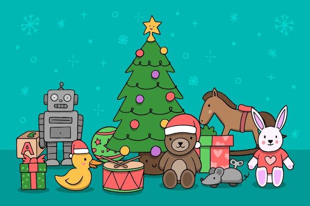 Hand getrokken kerst speelgoed achtergrond