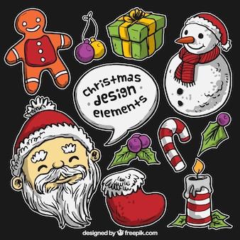 Hand getrokken kerst stickers