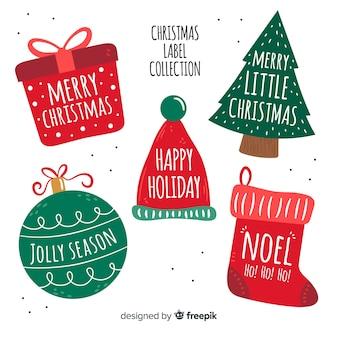Hand getrokken kerst tags collectie