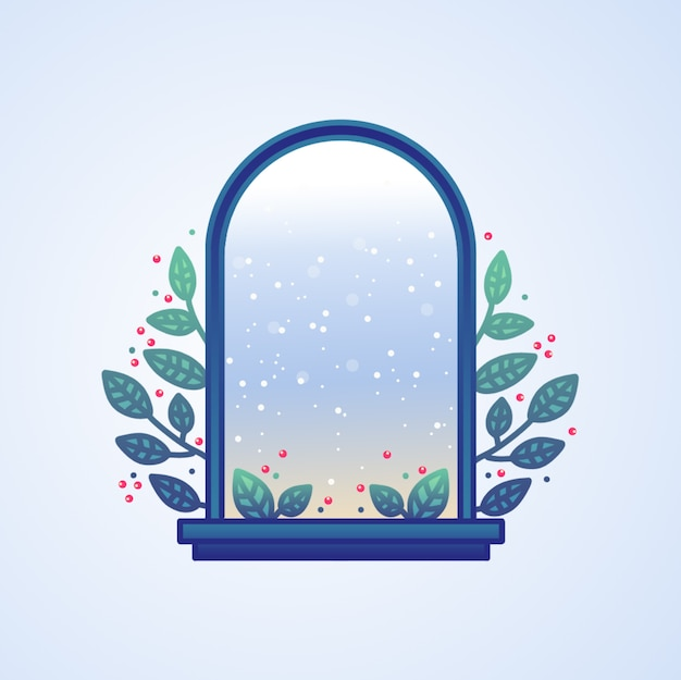Hand getrokken kerst venster weergave achtergrond