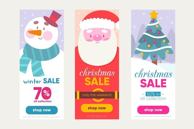 Hand getrokken kerst verkoop banners sjabloon