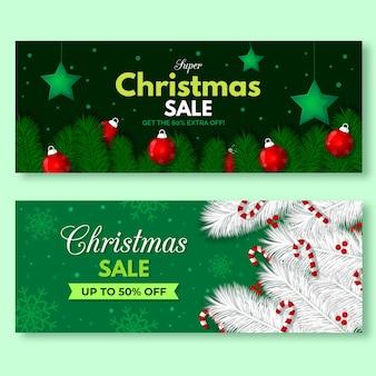 Hand getrokken kerst verkoop banners