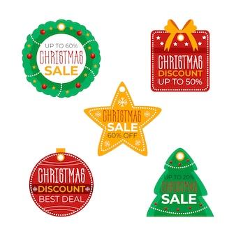Hand getrokken kerst verkoop tag collectie