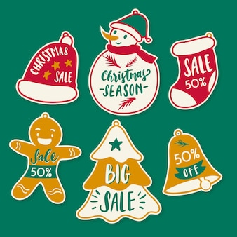 Hand getrokken kerst verkoop tag set