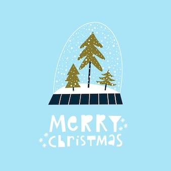 Hand getrokken kerst wenskaart met sneeuwbol. handgeschreven tekst merry christmas.