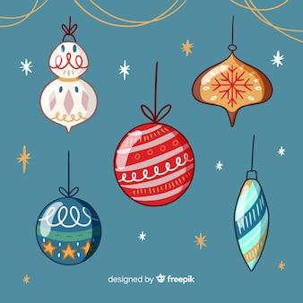 Hand getrokken kerstballen pack