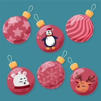 Hand getrokken kerstbollen met dieren