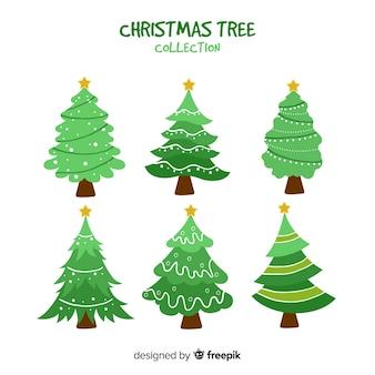 Hand getrokken kerstbomen collectie