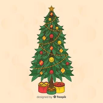 Hand getrokken kerstboom achtergrond
