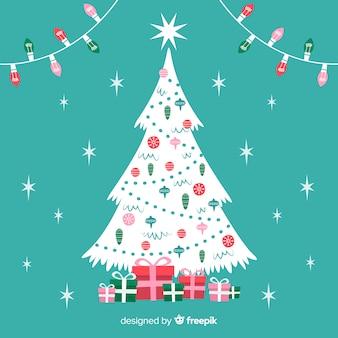 Hand getrokken kerstboom met lichte garland
