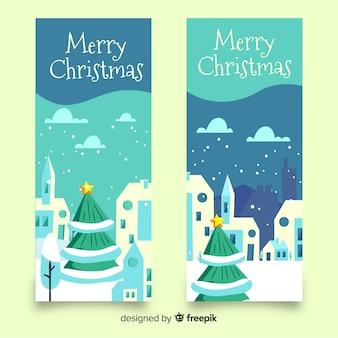 Hand getrokken kerstboom stad banner
